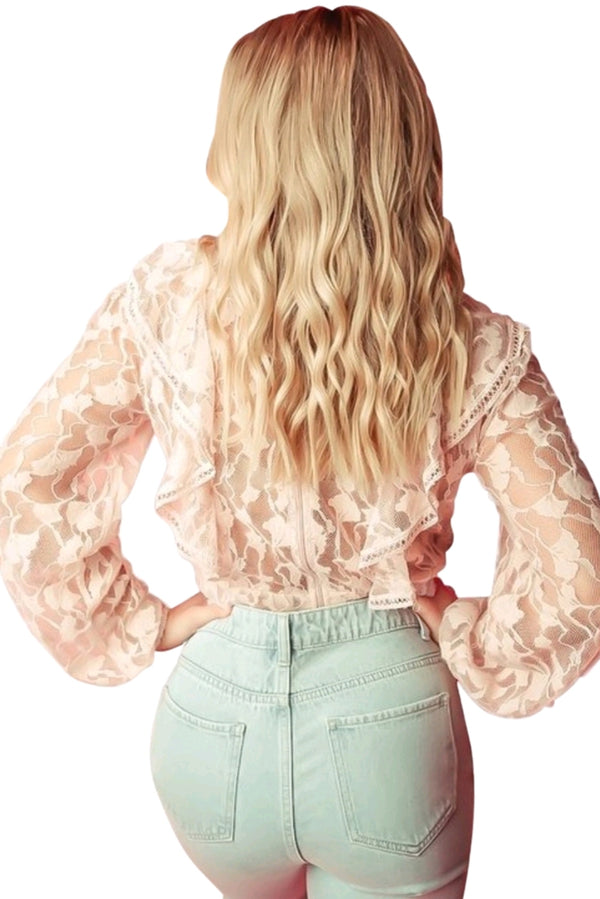 Scarlet Ruffle Lace Top