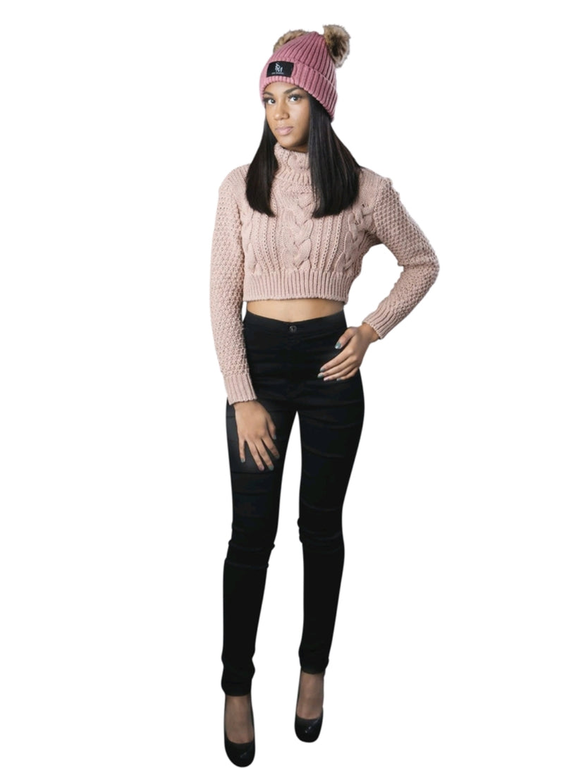 High Neck Crop Top Sweater