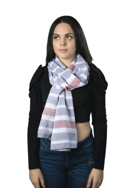 Pink, Gray, And White Stripe Scarf By SAM D'MONES