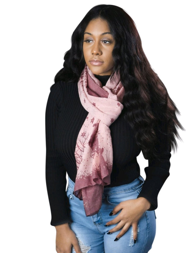 Pink Outdoor Printed Snowman Scarf