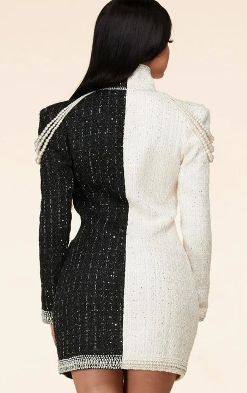 Moda Pearl Embellished Tweed Mini Dress