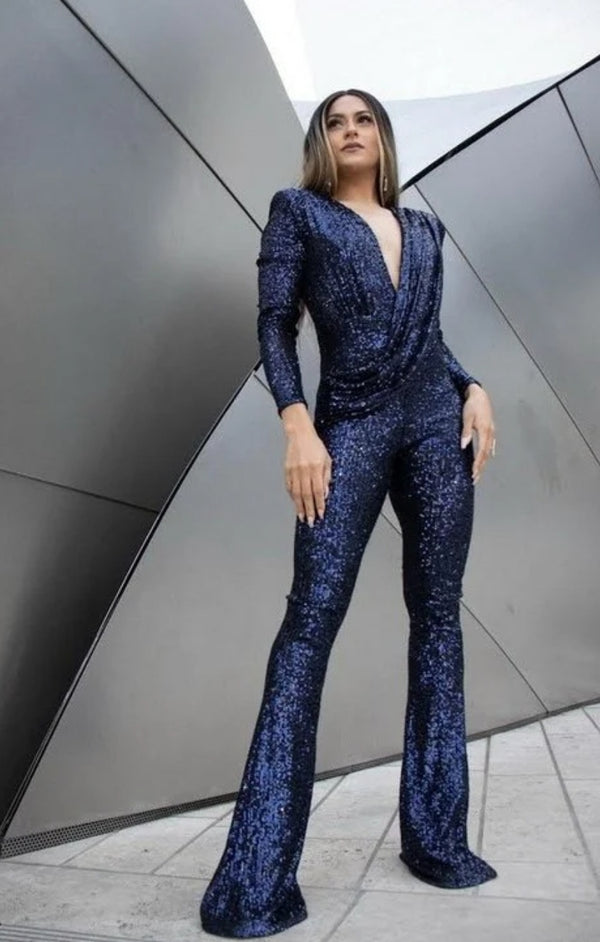 Beckham Navy Sequins Jumpsuit