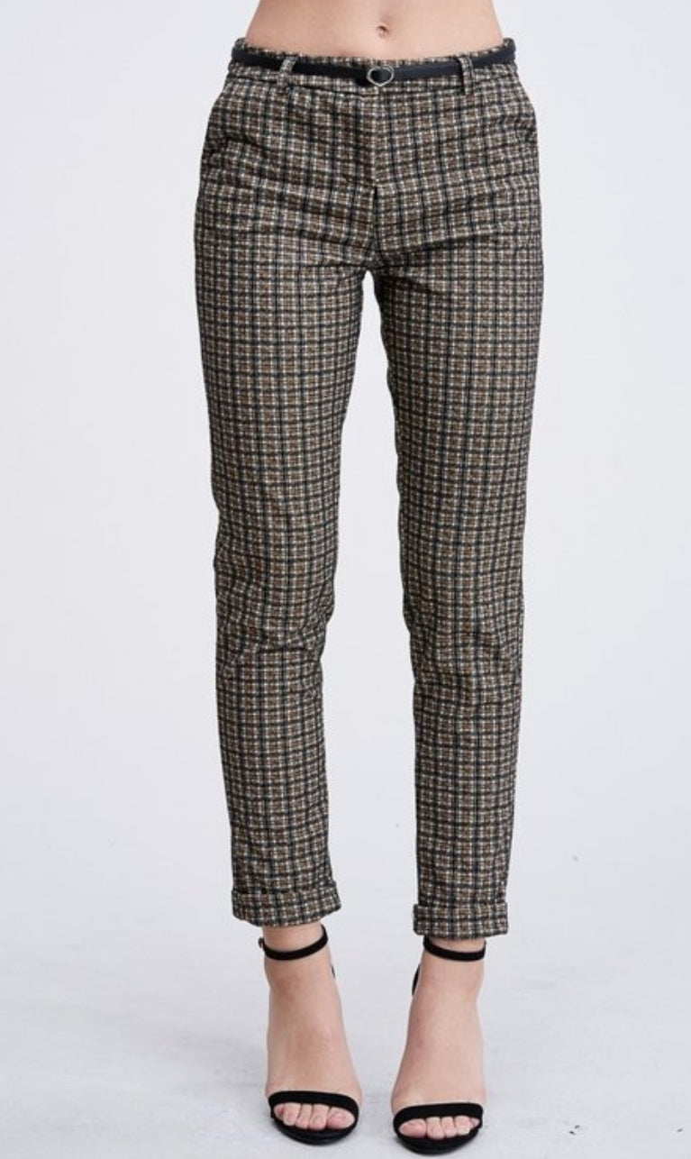 Plaid Ankle Cuffed Pants