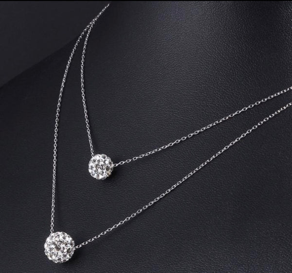 Double Crystal Ball Necklace