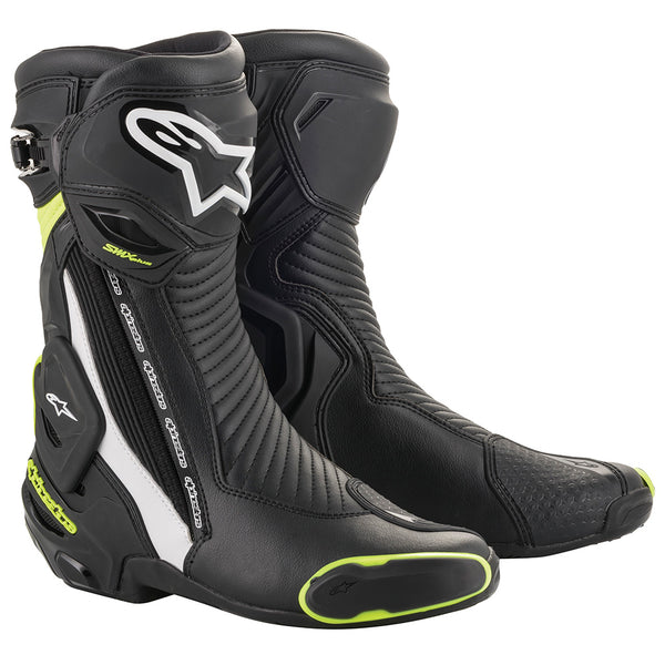 Alpinestars SMX Plus v2 Boots Black White & Yellow Fluo