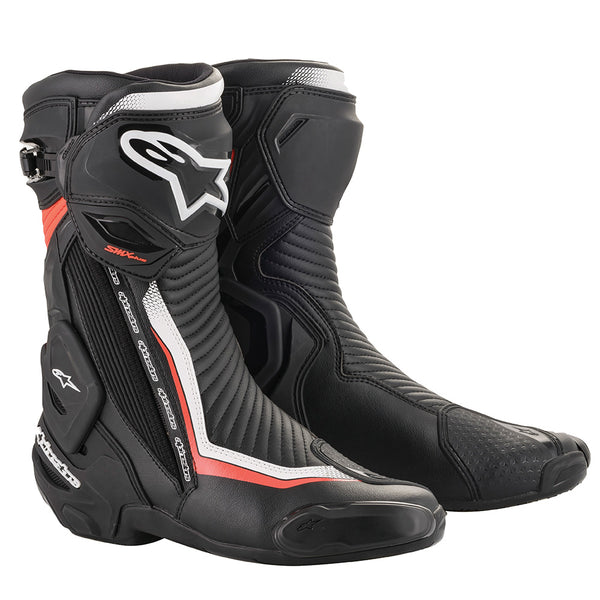 Alpinestars SMX Plus v2 Boots Black White & Red Fluo