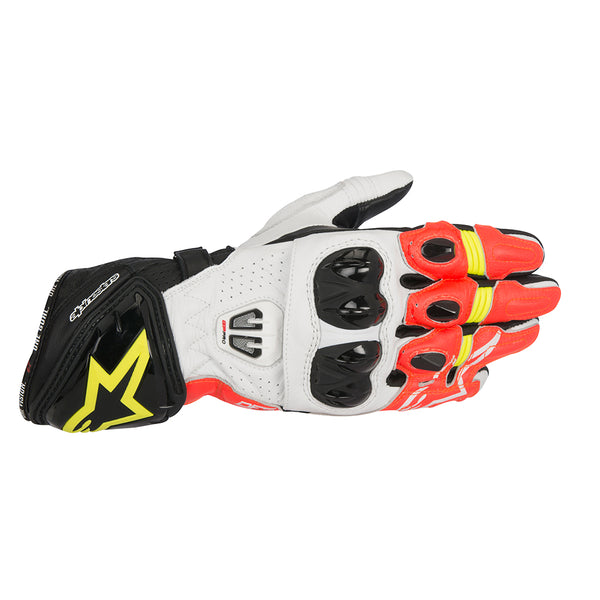 Alpinestars GP Pro R2 Gloves Black White Red Fluo