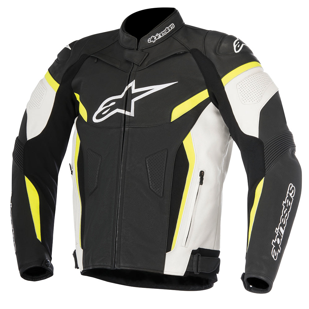 Alpinestars GP Plus R v2 Leather Jacket Black White & Yellow Fluo