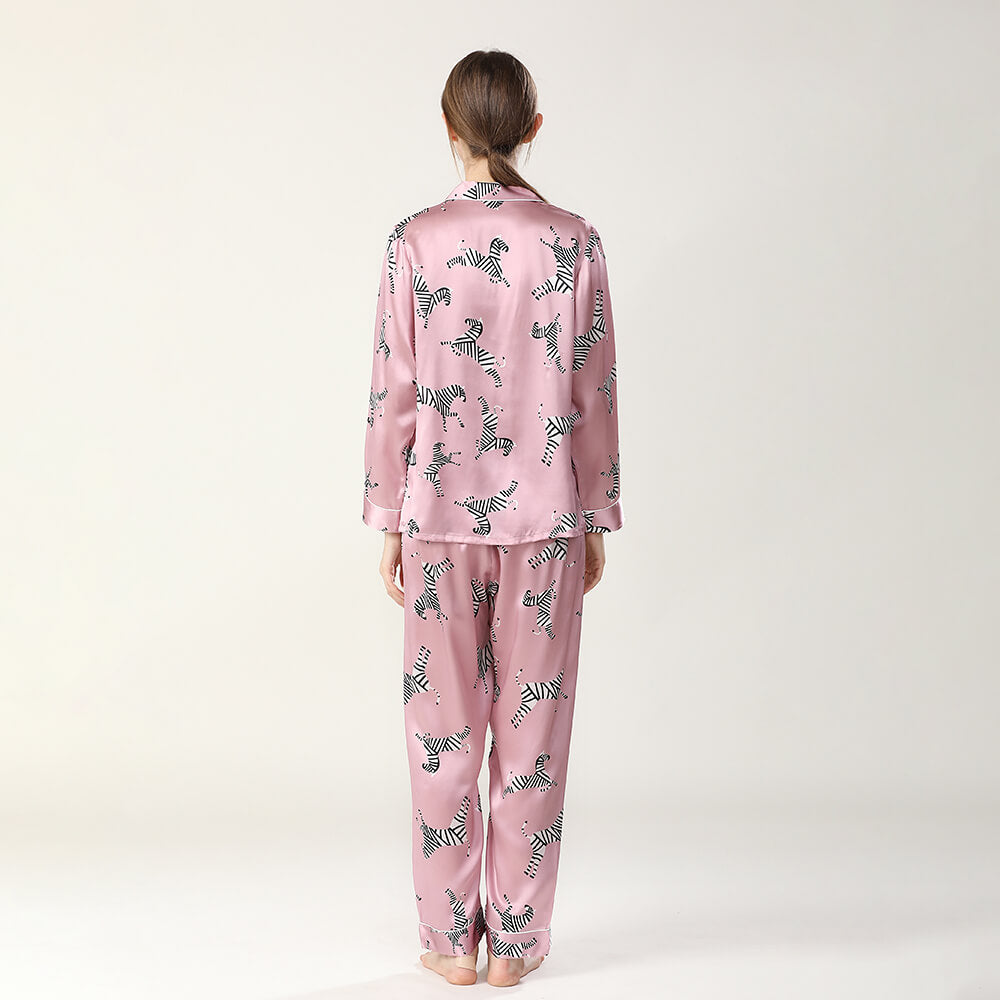 Women 19 Momme Long Zebra Printed 100% Silk Pajamas Set for Ldies on Sale 5 Colors