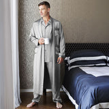 Short Men's Silk Robe Luxury Pure Silk Kimono Robe with Pockets Big and Tall Size