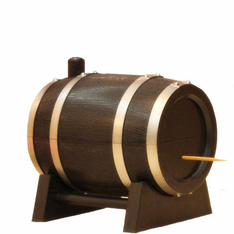 Wine Barrel Plastic Automatic Toothpick Box Container Dispenser Holder