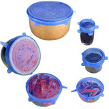 Silicone Stretch Lids 6-Pack Various Sizes Cover for Bowl
