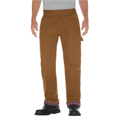 Relaxed Straight Fit Flannel-Lined Carpenter Duck Jeans