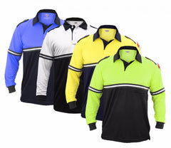100% POLYESTER TWO TONE BIKE PATROL SHIRT WITH ZIPPER POCKET - LONG SLEEVE
