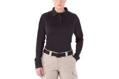 First Tactical - WOMEN'S PERFORMANCE LONG SLEEVE POLO - Black | Midnight Navy