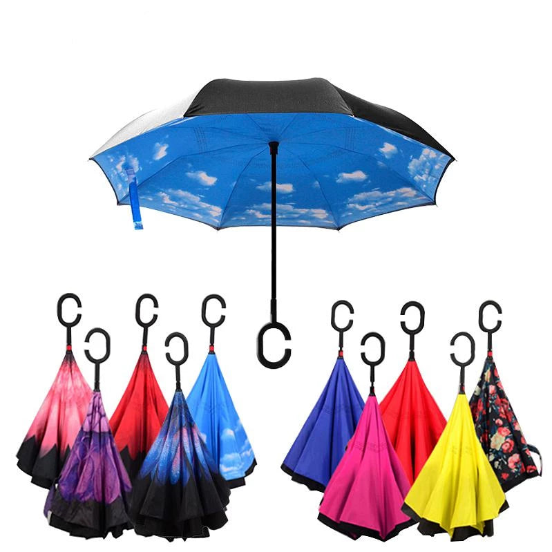 Double Layer Inverted Inverted Umbrella Is Light And Sturdy Branches Blossoming Cherry Against Background Blue Reverse Umbrella And Windproof Umbrell