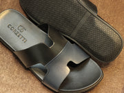 "Blue Black ""H"" Slippers (80886)"