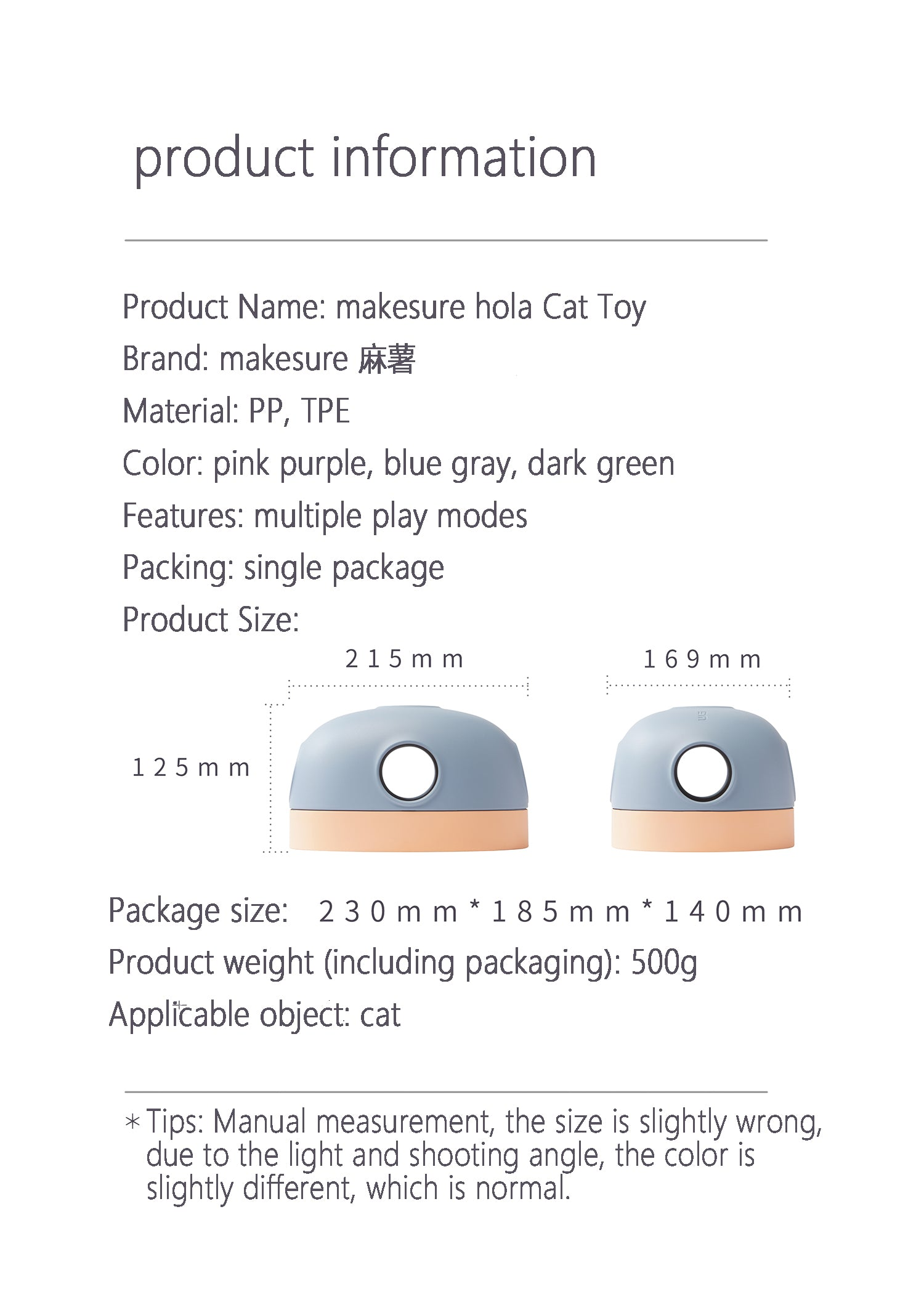 hola cat toy product info