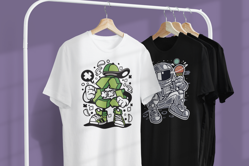 Mockup featuring two customizable t shirts hanging from a metal clothing rack 3730 el1