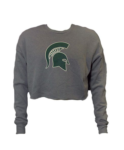 MICHIGAN STATE GREY CROPPED FLEECE
