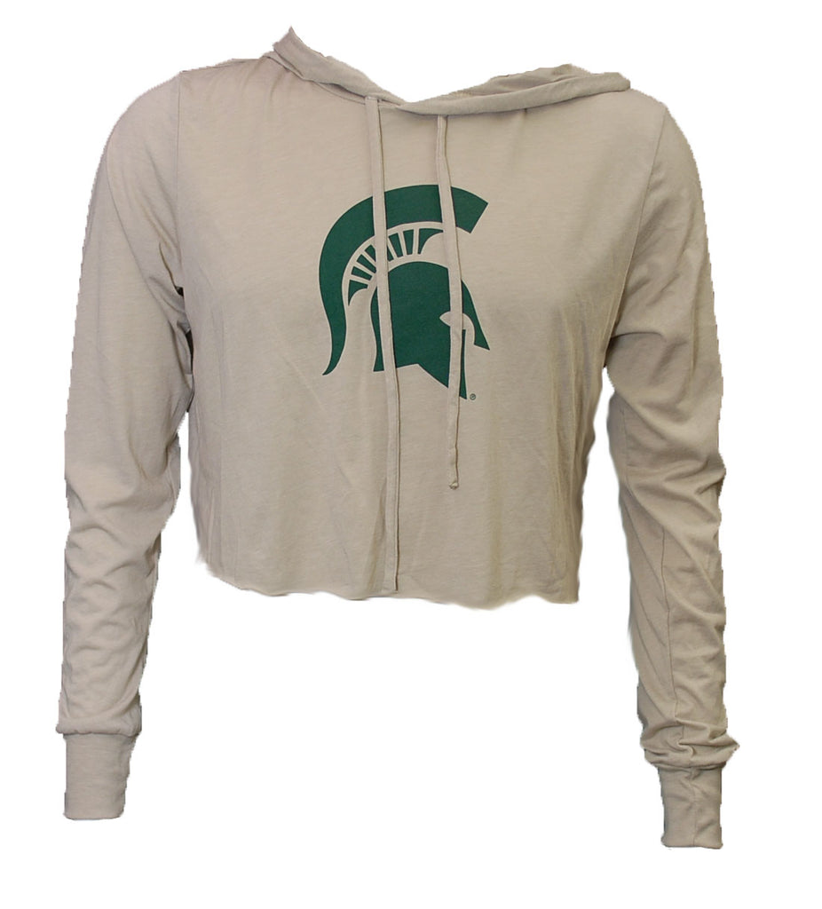 MSU Cropped Long Sleeve Hooded T-Shirt