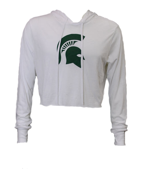 MSU Hooded Cropped Long Sleeve Shirt