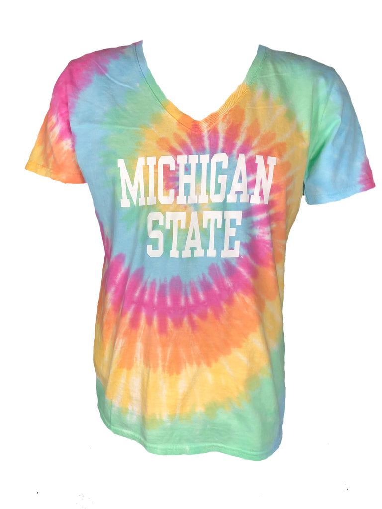 Michigan State Ladies Tie-Dye V-Neck T-Shirt