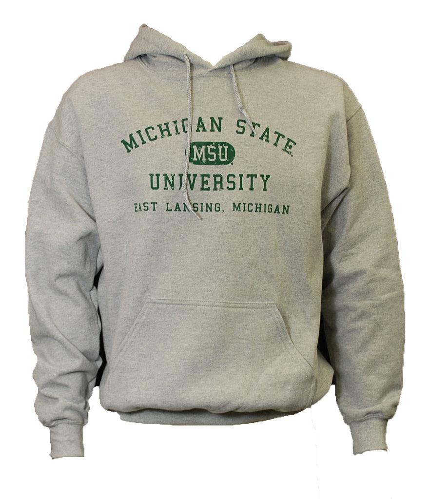MSU Distressed with East Lansing Hooded Sweatshirt