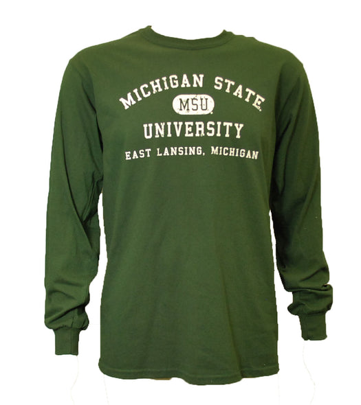 MSU Long Sleeve T-Shirt - Distressed with East Lansing Design