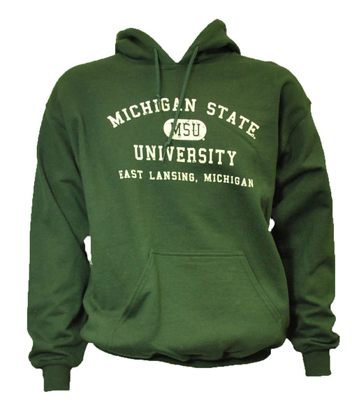 MSU Hooded Sweatshirt - Distressed with East Lansing Design