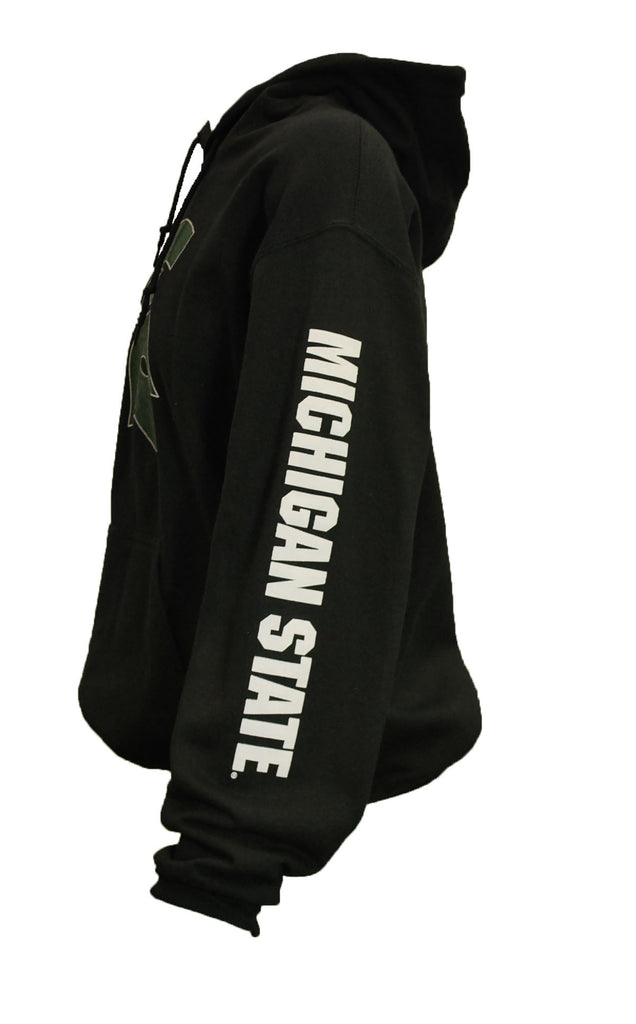 Michigan State Pullover Hooded Sweatshirt - Sparty with Sleeve Print