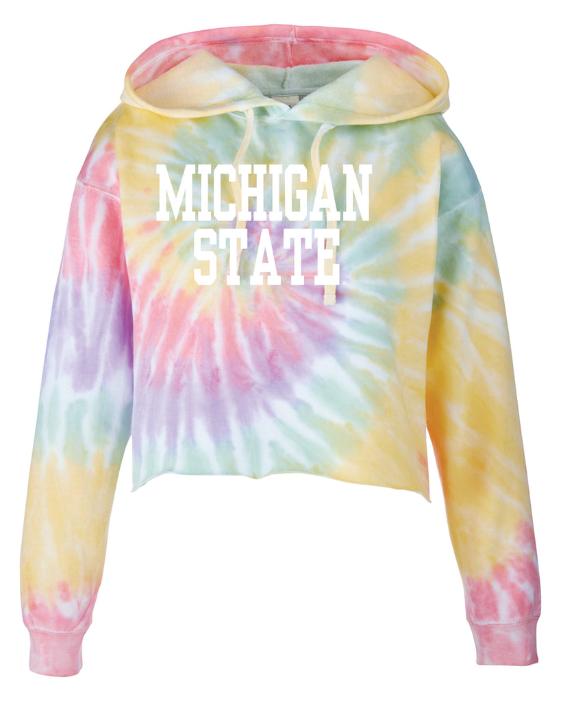MICHIGAN STATE TIE DYE CROPPED HOODIE