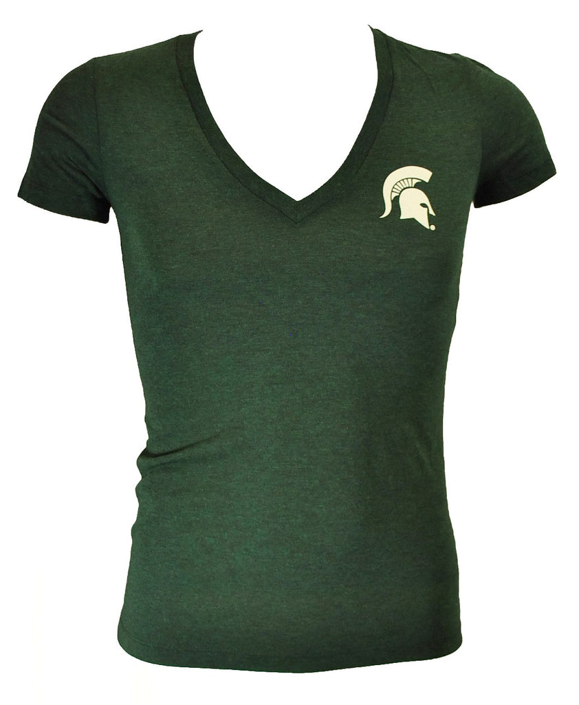 Michigan State Ladies Bella V-Neck T-Shirt- Sparty Head