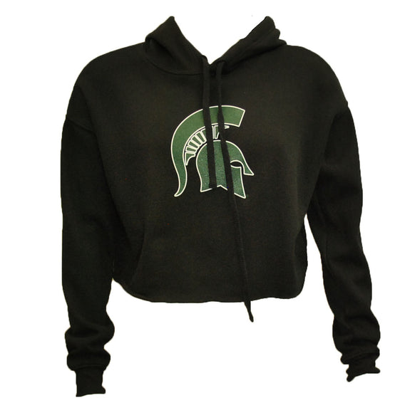 MSU Cropped Soft Fleece Hooded Sweatshirt