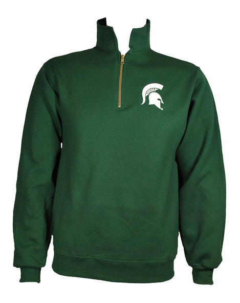 Michigan State Sweatshirt - Quarter Zip Cadet Collar - Spartan Head