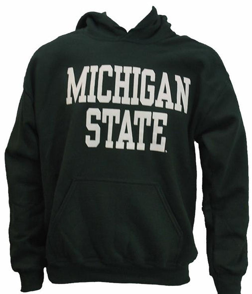 Michigan State Pullover Hooded Sweatshirt - DryBlend Heavy Weight - Block Design - Classic Colors