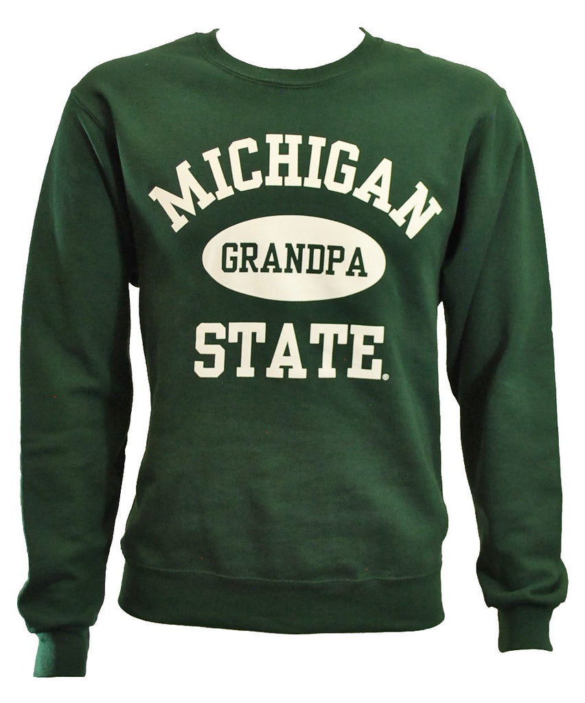 MICHIGAN STATE FOREST GREEN GRANDPA CREWNECK