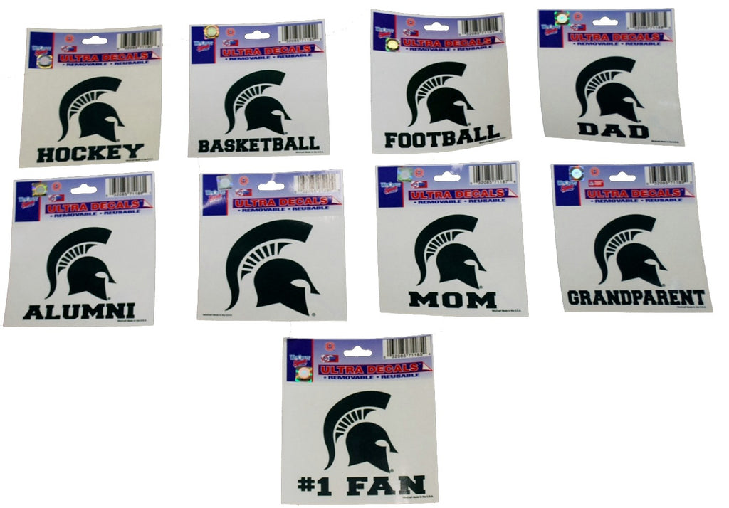 MSU Removable Reusable Decals - FOOTBALL, BASKETBALL, MOM, DAD, GRANDPARENT, ALUMNI, #1 FAN, SOCCER, ROWING, LACROSSE, and More!