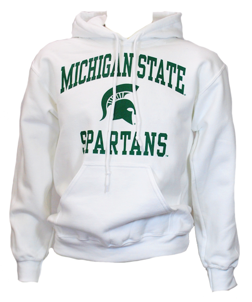 Michigan State Pullover Hooded Sweatshirt - DryBlend Heavy Weight - Sparty Design - Classic Colors