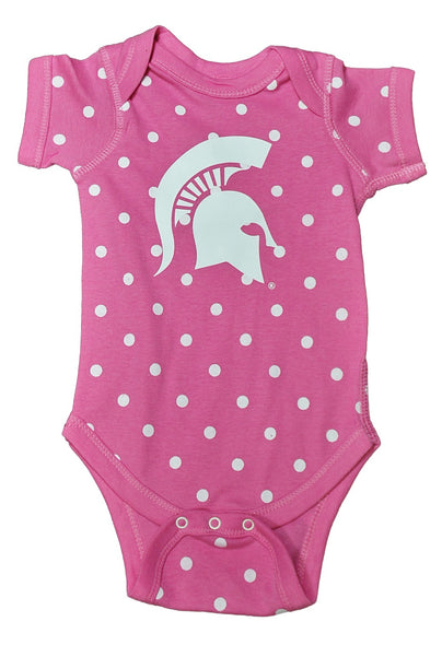 Michigan State Onesie- Pink/White Dots, Gray/White Striped