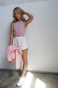Kiki Rib Tank Pink | Harris and Hunter