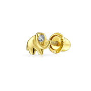 Minimalist CZ Elephant Cartilage Stud earring Real 14K Gold Screwback