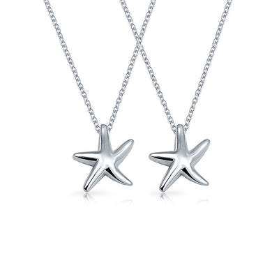 Set of 2 Starfish Nautical Beach Pendant Necklace Sterling Silver