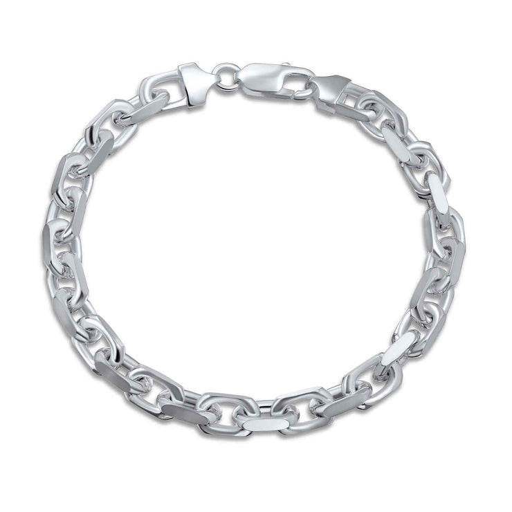 Anchor Mariner Link Bracelet 250 Gauge Solid 925 Sterling Silver 8in