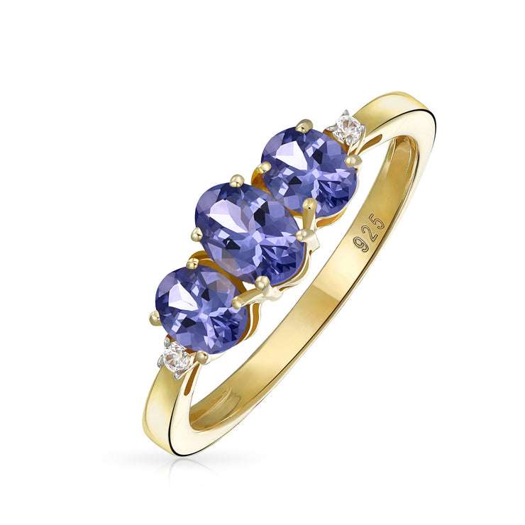 Oval 3 Stone Purple Tanzanite Ring Gold Plated Sterling Silver