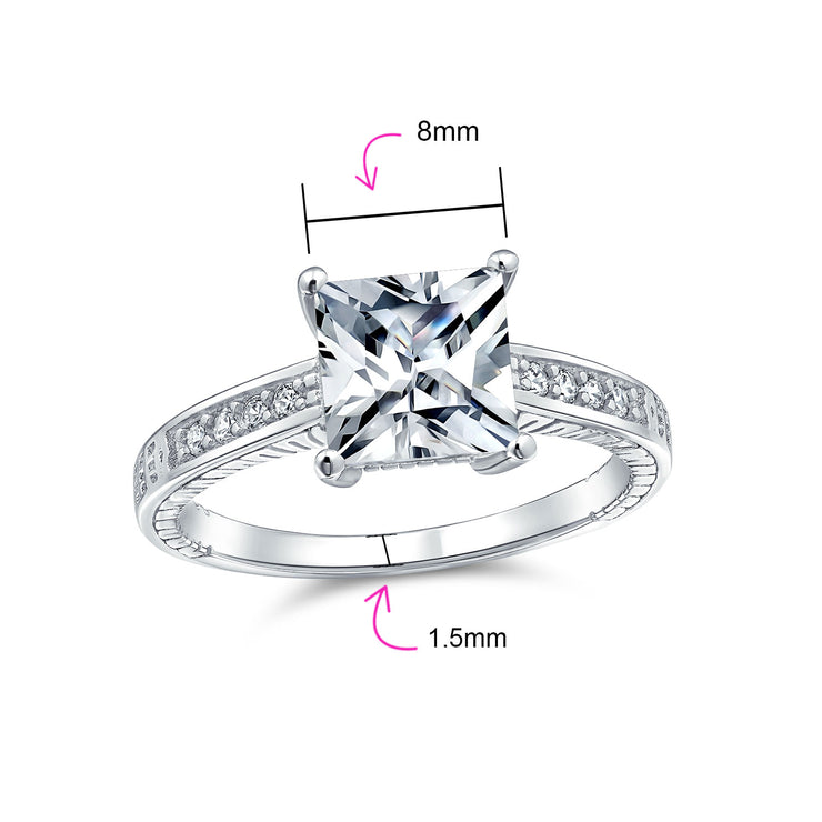 3CT Princess Cut Solitaire AAA CZ Engagement Ring 925 Sterling Silver