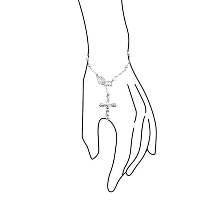 Virgin Mary Rosary Prayer Crucifix Cross 925 Sterling Silver Bracelet