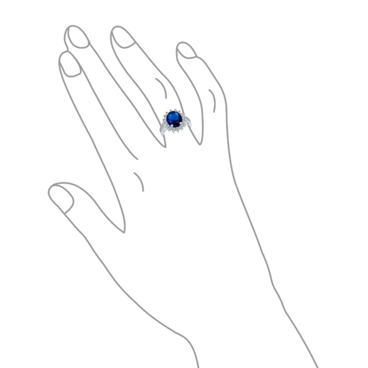 5CT Blue Oval Imitation Sapphire CZ Engagement Silver Plated Brass