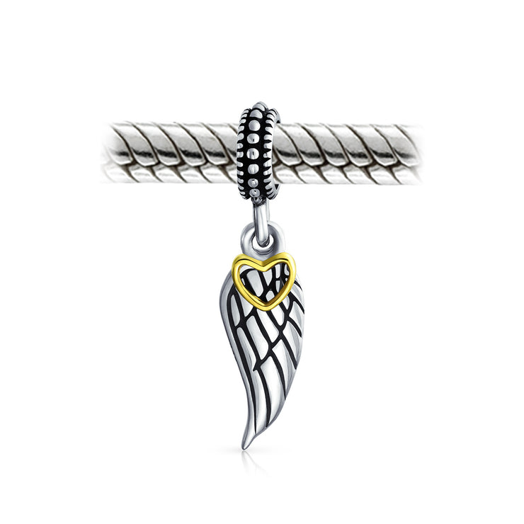 Angel Wing Feather Heart Dangle Charm Bead 925 Sterling Silver