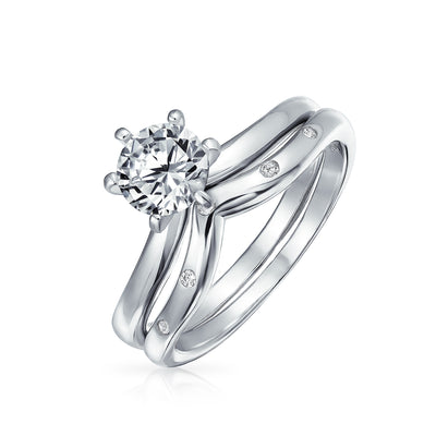 1CT Solitaire AAA CZ Etoile Engagement Ring Set 925 Sterling Silver
